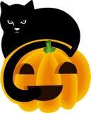 svart katt halloween över kika pumpöverkant royaltyfri illustrationer