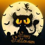 svart katt halloween royaltyfri illustrationer
