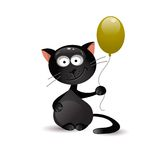 Svart katt med ballongen också vektor för coreldrawillustration Royaltyfri Foto