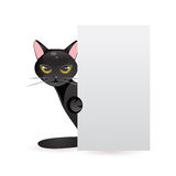 Svart katt med banret också vektor för coreldrawillustration Arkivbild