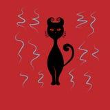 Svart katt med röda ögon Royaltyfri Illustrationer