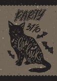 Svart katt med typografi Arkivfoto