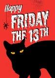 Svart katt och fredag 13th vektor illustrationer