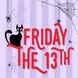 Svart katt och fredag 13th royaltyfri illustrationer