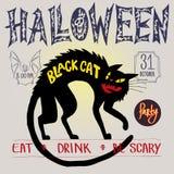 Svart katt och slagträ Färga bilden, partiinbjudan, halloween, reklambladet, affischen, banret, packe royaltyfri illustrationer