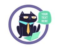 Svart katt på datorvektorillustrationen Härlig katt på en vitbakgrund Vektor Illustrationer