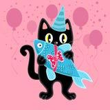 Svart katt på födelsedagpartiet med gåva royaltyfri illustrationer