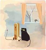 Svart katt som värma sig nära värmeapparatvektorillustrationen Royaltyfri Bild