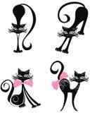 Svart katt. Vektorillustration   Royaltyfri Foto