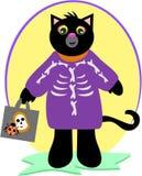 svart kattdräkthalloween skelett vektor illustrationer