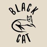 svart katttecken svart kattlogo Arkivbilder