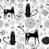 svart katttextur Arkivbilder