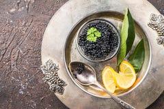 Svart kaviar på is Royaltyfri Foto