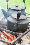 svart kettle två royaltyfri bild
