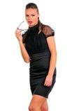 svart klänningexponeringsglaskvinna Royaltyfri Foto