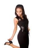 svart klänningkvinnligmodell Royaltyfri Bild