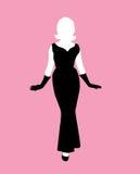 svart klänningkvinnligsilhouette Royaltyfria Bilder