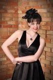 svart klänninglady Royaltyfri Bild