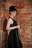 svart klänninglady Arkivfoto
