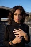 svart klänningmodemodell Royaltyfri Bild