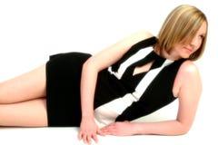 svart klänningwhite Royaltyfri Fotografi