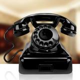 Svart klassisk telefon på ett hem Royaltyfri Fotografi