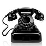 Svart klassisk telefon på ett hem Royaltyfri Foto