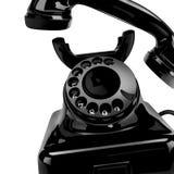 Svart klassisk telefon på ett hem Royaltyfri Bild