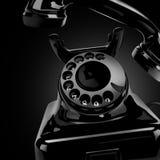 Svart klassisk telefon på ett hem Arkivfoton