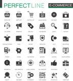 Svart klassisk uppsättning för E-kommers shoppingsymboler vektor illustrationer