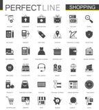 Svart klassisk uppsättning för symboler för shoppinge-kommers rengöringsduk vektor illustrationer