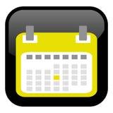 Svart knapp: Gul kalendersymbol stock illustrationer