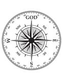 Svart kompass på vit Royaltyfri Bild