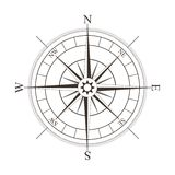 Svart kompassros som isoleras på vit Royaltyfria Bilder