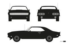 Svart kontur av den retro bilen Amerikansk tappningbil av 60-tal Framdel-, sido- och baksidasikt Klassisk automatisk stock illustrationer