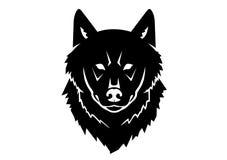 Svart kontur av en lös varg på en vit bakgrund royaltyfri illustrationer