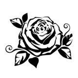 Svart kontur av en ros också vektor för coreldrawillustration royaltyfri illustrationer
