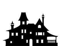 Svart kontur av ett viktorianskt hus också vektor för coreldrawillustration Royaltyfri Foto