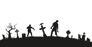 Svart kontur av levande död på kyrkogårdbakgrund Mardrömlandskap med dött folk Panorama av undeadmonstret stock illustrationer