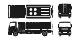 Svart kontur av luftbränslelastbilen Framdel-, sido-, överkant- och baksidasikt Underhåll av flygplan Flygfälttransport royaltyfri illustrationer