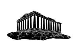 Svart kontur av parthenonen Royaltyfri Foto