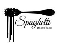Svart kontur av spagetti på en gaffel med en inskriftillustration som isoleras på den vit bakgrundswebbplatssidan och folkhop stock illustrationer