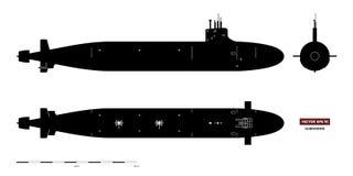Svart kontur av ubåten Militärt skepp Överkant-, framdel- och sidosikt Slagskeppmodell teckna som är industriellt krigsskepp royaltyfri illustrationer
