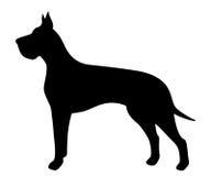 Svart kontur för vektor av en Great dane hund royaltyfri illustrationer