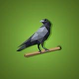 Svart korpsvart fågelvektor i låg polygonkonst Fotografering för Bildbyråer