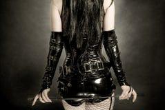 svart korsettlatexkvinna Royaltyfri Fotografi