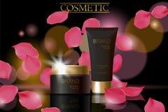Svart kosmetisk annonsdesignmall Mörk guld- reflexion för exponeringsglas för rör för hudomsorgpacke Rosa kronblad defocuced bakg stock illustrationer