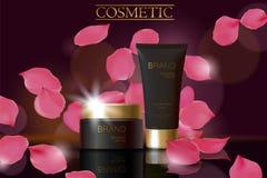 Svart kosmetisk annonsdesignmall Mörk guld- reflexion för exponeringsglas för rör för hudomsorgpacke Rosa kronblad defocuced bakg royaltyfri illustrationer