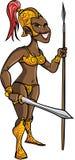 Svart krigarekvinna för tecknad film med ett svärd Arkivfoton