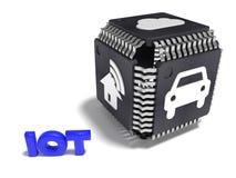 Svart kub som göras från CPUer med vita IOT-symboler på varje sidointe vektor illustrationer